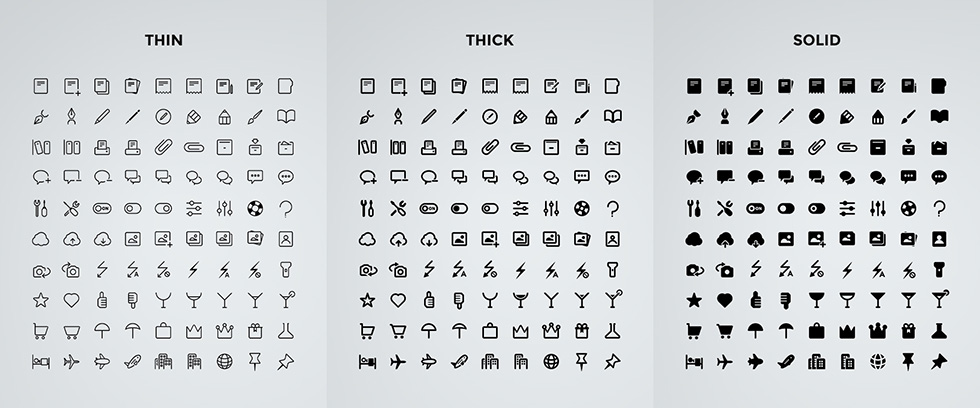 Clear Icons Bundle - Thin, Thick & Solid
